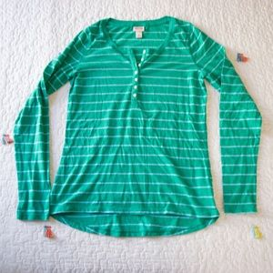 Mossimo Green and Blue Striped Long Sleeve Shirt L